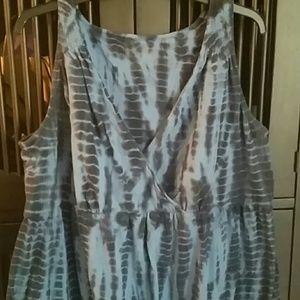 Blue Tie-dye Casual Dress
